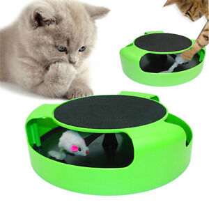 Cat Kitten Catch The Mouse Moving Play Toy Interactive Plush Scratching Claw Toy