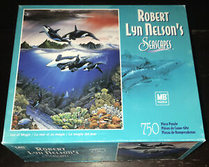 MB Robert Lyn Nelson SEASCAPES Sea of Magic 750 Piece Jigsaw Puzzle Orcas Whales