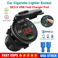 QC3.0 USB Car Charger Socket Outlet+ON/oOff Switch For Car Motorcycle 12V/24V US