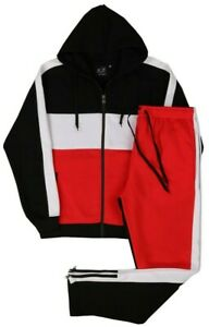MEN CLASSIC WARM FLEECE SWEATSUIT WITH JOGER ZIPPER BOTTOM SMALL UPTO 5X