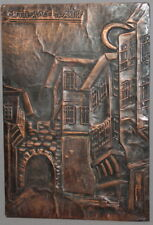 VINTAGE COPPER WALL HANGING PLAQUE CITYSCAPE