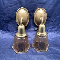 Nice Pair antique brass wall sconces With Etched Amber Shades Nice Patina 104A