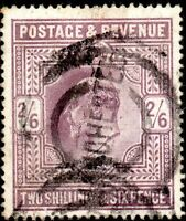 1905 Sg 262 (M49/2) 2/6d Dull Purple with parcels Cancellation Good Used