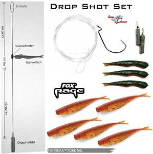 Iron Claw Drop Shot Set Farbe: Motor Oel + Fox Rage Forktail Appleseed