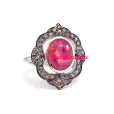 Cut Diamond 0.60ct Ruby Wedding Ring Inspired Victorian Silver 925 Antique Rose