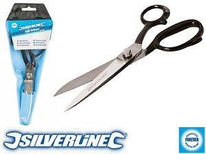 Silverline Stainless Steel Tailor Scissors 200mm Textiles Carpet Felt Film Wire