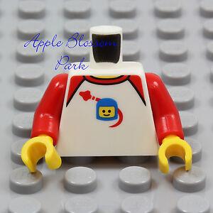 NEW Lego WHITE MINIFIG TORSO -Boy Girl Child Space Ship Man Benny Shirt Red Arms