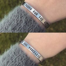 Vegan Bracelet For The Voiceless Silver Cuff Bracelet Handmade Jewellery