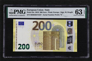 2019 European Union / Italy 200 Euro Pick#25s PMG 63 EPQ Choice UNC