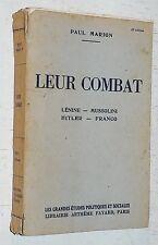 LEUR COMBAT / PAUL MARION 1941 - LENINE MUSSOLINI HITLER FRANCO