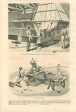 Factory London Machine Curving Wood Planks Bois Dyeing GRAVURE OLD PRINT 1859