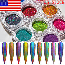 14PCS Laser Powder Rainbow Glitter Mirror Nail Art Pigment Holographic Powder