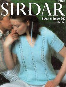 """Sirdar 5875 Vintage Knitting Pattern Ladies Top DK 32-40"""" Short Sleeve Sweater"""