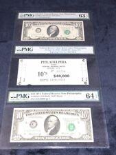 "1974 $10 FRN'S ""BEP BRICK LABEL & BOOKEND NOTES"" PHILADELPHIA, PA PMG 63/64EPQ"