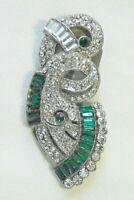 Vintage Art Deco Green & Clear Crystal Rhinestone Pot Metal Dress Clip