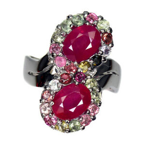 Oval Red Ruby 8x6mm Tourmaline 14K White Gold Plate 925 Sterling Silver Ring 9