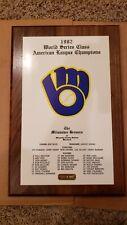 1982 MILWAUKEE BREWERS AMERICAN LEAGUE CHAMPS MLB WORLD SERIES BASEBALL PLAQUE