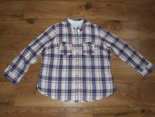 MARKS AND SPENCER Indigo Coral White & Blue Check Pattern Shirt in size UK 20