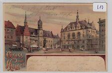 2777, Gruss aus Halle Marktplatz tolles Litho gelaufen 1902 !