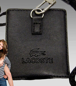 New Authentic LACOSTE Leather Lanyard for ipod Nano shuffle Sorbonne 7 Black