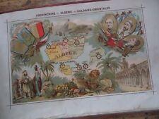 RARE ATLAS ALBUM ARTISTIQUE FRANCE ET COLONIES CHROMOS HISTOIRE  GEOGRAPHIE 1900