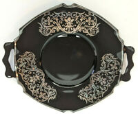 """Vintage 7"""" Black Decorative Plate Silver Trimmed with Handles"""