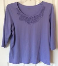 CHARTER CLUB Woman Tagless Cotton Knit Top, Lavender, 3/4 Sleeves, Size 1X