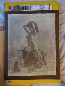 Vintage R. Hendrickson Sepia Print Nude women sitting on bed