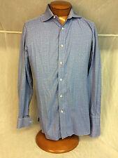 * BORRELLI Napoli * Mens Dress Shirt French Cuffs Blue Check  - 15 3/4 x 40