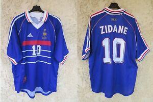 Maillot équipe de FRANCE 98 ZIDANE n°10 COUPE DU MONDE ADIDAS vintage shirt XL