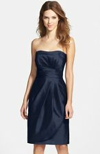 NEW ALFRED SUNG Wrapped Strapless Satin DRESS Size 6 $196 MIDNIGHT WEDDING