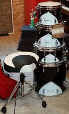 Gretsch Renown Motor City 57 Black White Chrome Drum Bass Snare Toms Throne MINT