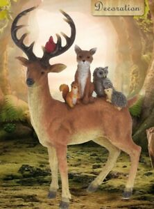 Reindeer Animal Ornament With Animals Of The Forest 33cm Tall Fox Owl Squirrel