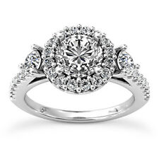Halo Pave 3 Stone 1.65 Carat Round Real Diamond Engagement Ring 14K White Gold