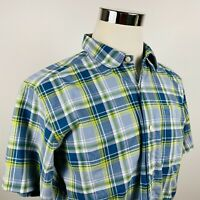 Patagonia Mens Medium Casual Outdoor Shirt Short Sleeve Blue Yellow Plaid Cotton