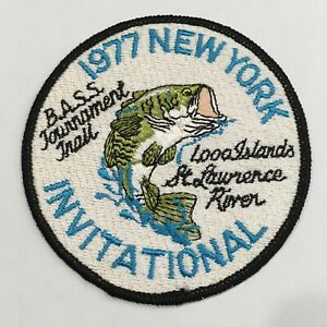 """Rare Vintage 1977 New York Invitational Bass Fishing Tournament Patch 4"""" in"""