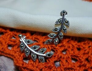 My S Collection 925 Sterling Silver & Marcasite Leaf Long Stud Earrings