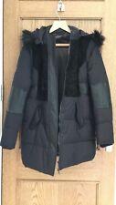 Supertrash black suede and leather parka coat    Size 40