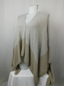 Steve Madden Knit Color-Block Open Front Shawl Wrap - Beige, One Size #5862