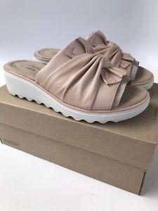Clarks Jillian Leap Leather Slide Sandal Womens Size 8W WIDE Blush