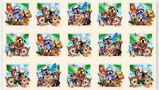 "Animal Selfies Cat Dog Beach Cream Cotton Fabric Elizabeths Studio 24""X44"" Panel"