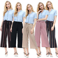 Summer Women Palazzo Pants High Waist Wide Leg Culottes Long Trousers Casual