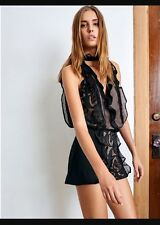 Alexis Camil Black Lace And Nude Ruffle Short Romper Sz Small Nwt