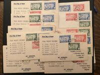 ICOLLECTZONE 1958 The West Indies Federation 11 Cover Set of 11 (D200)