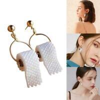 Handmade TOILET PAPER Roll EARRINGS Hook Ear Wire Polymer hot Clay R4Y2