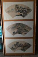 Vintage Asian Fan Art Prints Bamboo Frame Bonsai Tree Scenic Pagoda Landscape