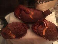 3 vintage duck shaped baskets graduated sizes wooden bills