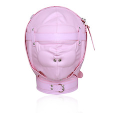 Soft PU Leather Gimp Hood Mask Gag Lockable Blindfold Restraints Pink
