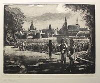 Richard Pusch Aquatinta Radierung Alt Dresden um 1950 Grafik Drucke Sachsen xz