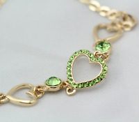 18K Gold Plated Green Crystal Lovely Hearts Solid Charm Bracelet Bangle